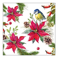Eko serviete za decoupage Bird on Poinsettia - 1 kos