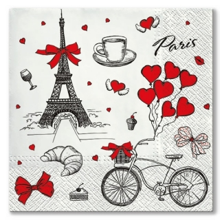 Serviete za decoupage I love France - 1 kos