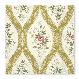 Serviete za decoupage Wallpaper with flowers gold - 1 kos