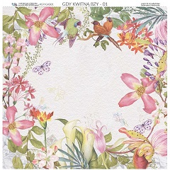 Obojestranski papir za scrapbooking tehniko 30.5 x 30.5 cm - When Lilacs Bloom 01