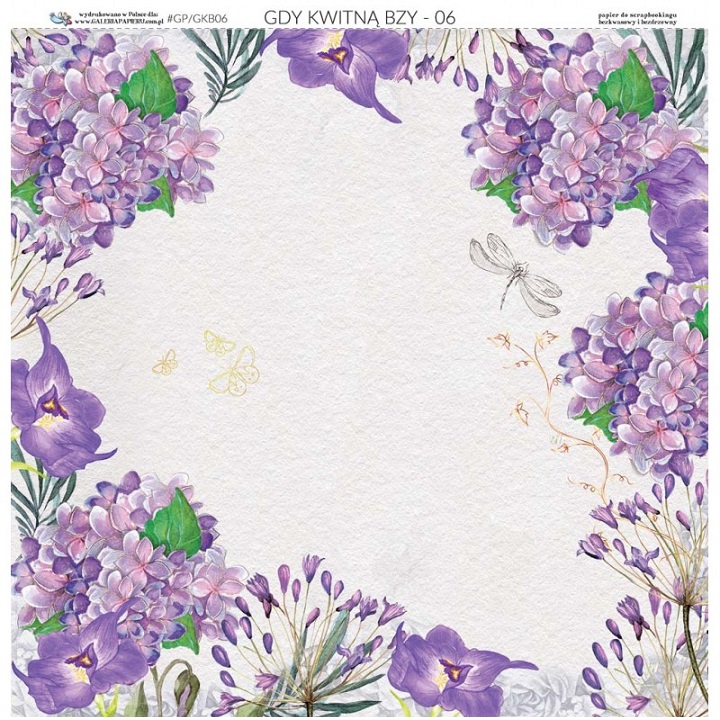 Obojestranski papir za scrapbooking tehniko 30.5 x 30.5 cm - When Lilacs Bloom 06